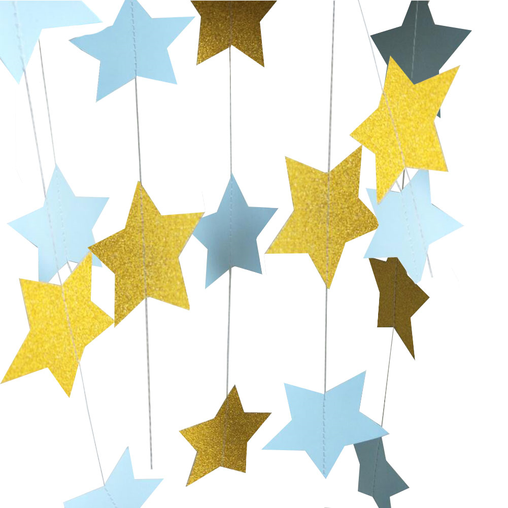 3pcs Sparkling Star Garland Bunting Decoration for Baby Shower Birthday Wedding Christmas Holiday Photo Booth Props Party Décor - 副本