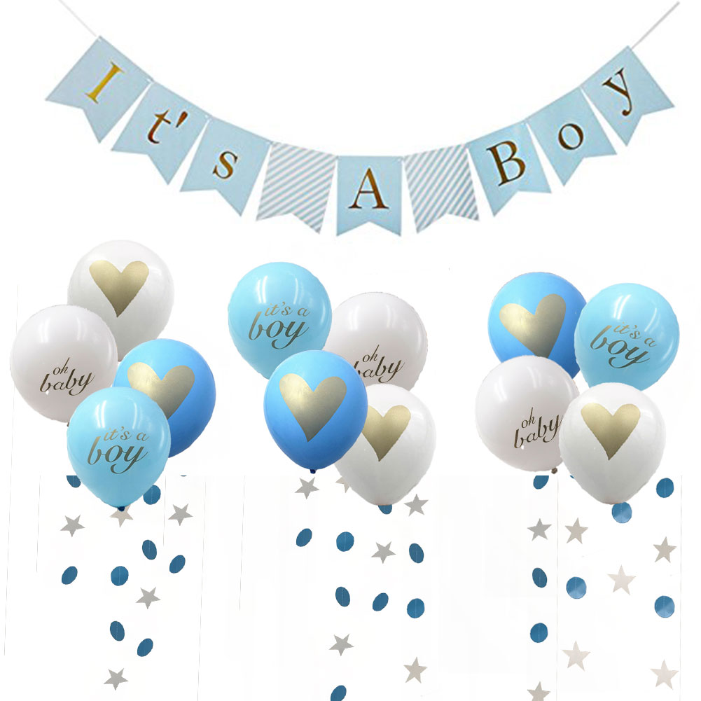 Baby Shower Decorations for Kids,It's A Girl/Boy Garland Bunting Banner,8pcs Balloons Kit with Ribbon,Pink/Blue Theme Party Favors Supplies Kit - 副本