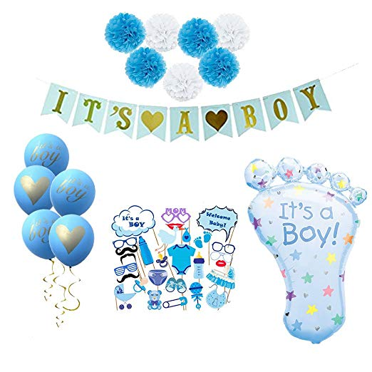 It's A Girl/Boy Decoration Set Party Supplies for Kids Paper Pom Poms ,5pcs Balloons,1pc Foil Balloon Parties Decorate Kit - 副本