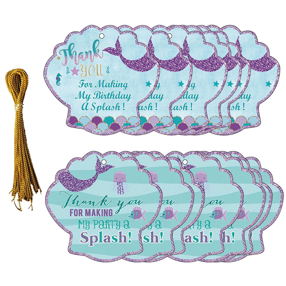 24pcs Thank You Tags, Mermaid Gift Bottle Tags with String Baby Shower Birthday Wedding Party Thank you for Celebrating with us Tags