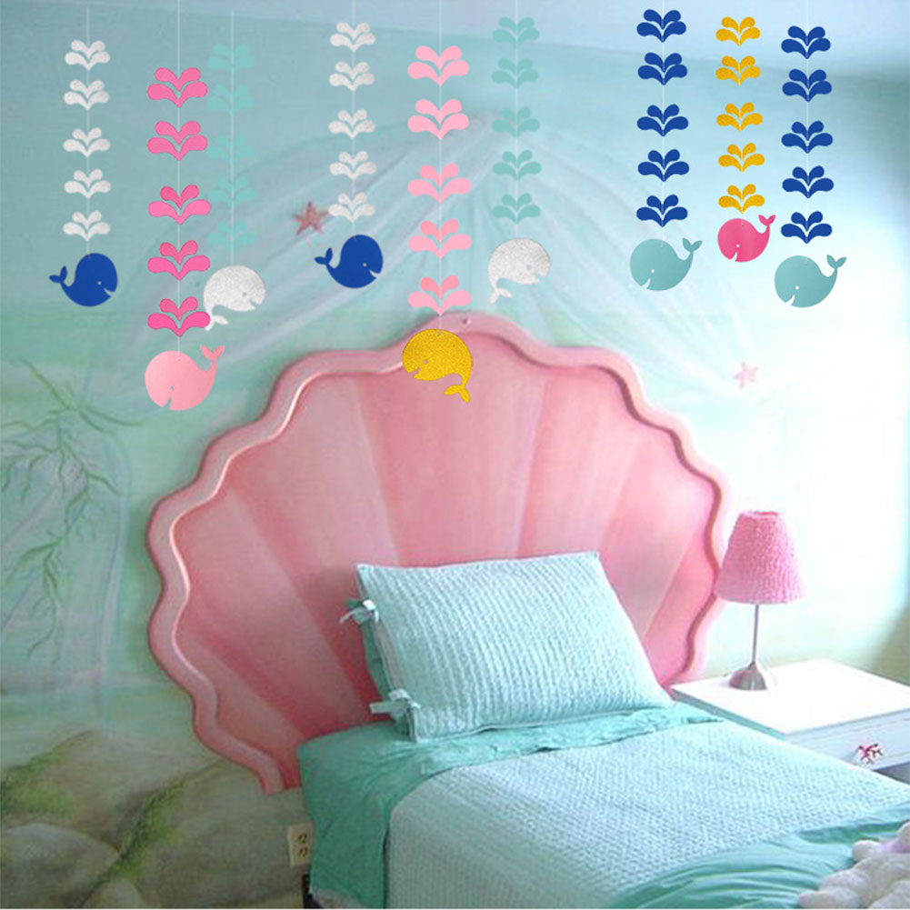 6pack Paper Glitter Whale Garland for Birthday Baby Shower Anniversary Party Christmas Kids Room Décor