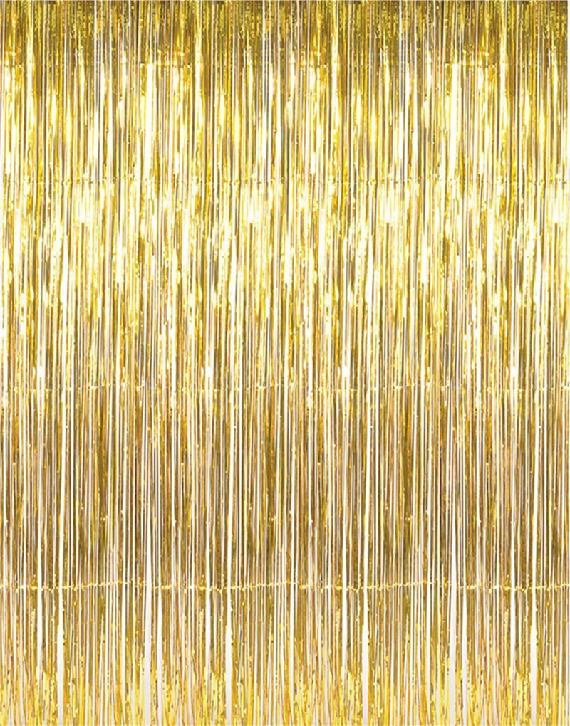 3.2 ft x 9.8 ft Metallic Tinsel Foil Fringe Curtains for Party Photo Backdrop Wedding Decor