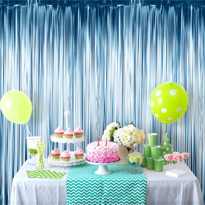Photo Booth Backdrops Foil Curtains Metallic Tinsel Backdrop Curtains Door Fringe Curtains