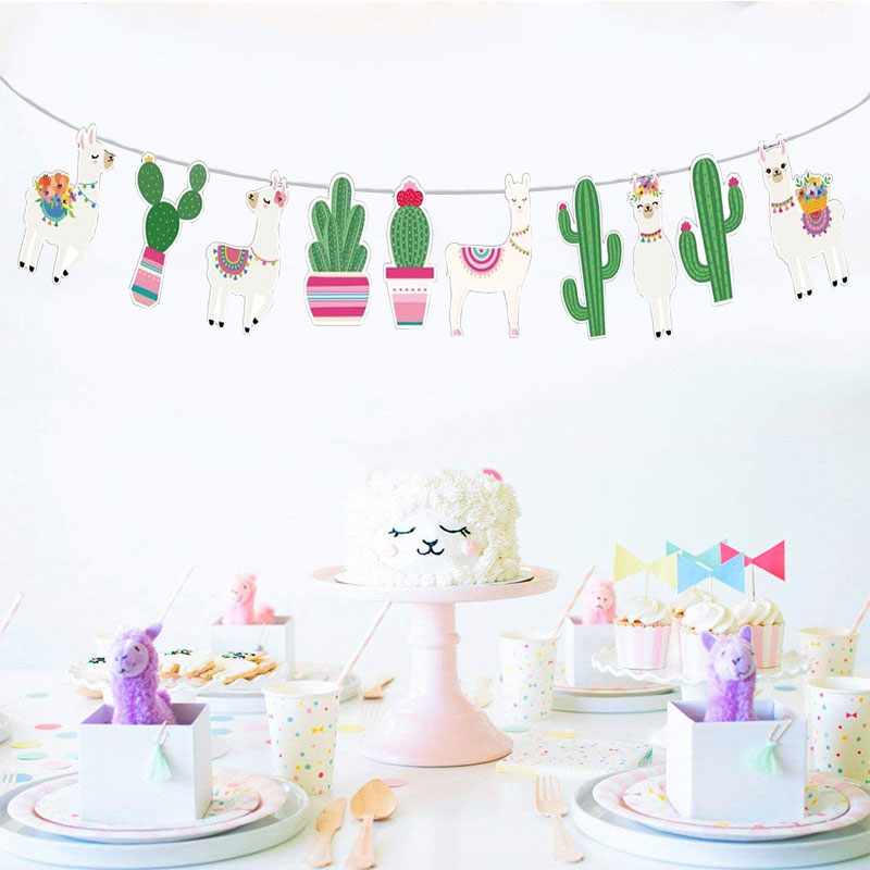 Llama Banner Baby Party Supplies Alpaca Bunting Paper Sheep Flag for Kids