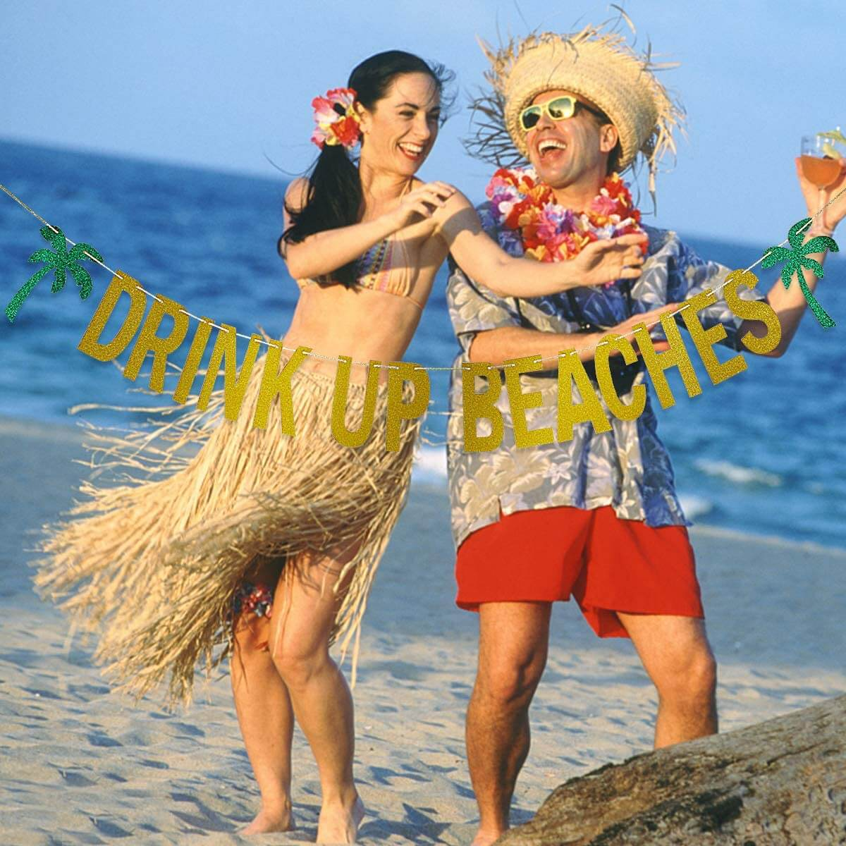 Gold Glittery Drink Up Beaches Coconut Tree Banner