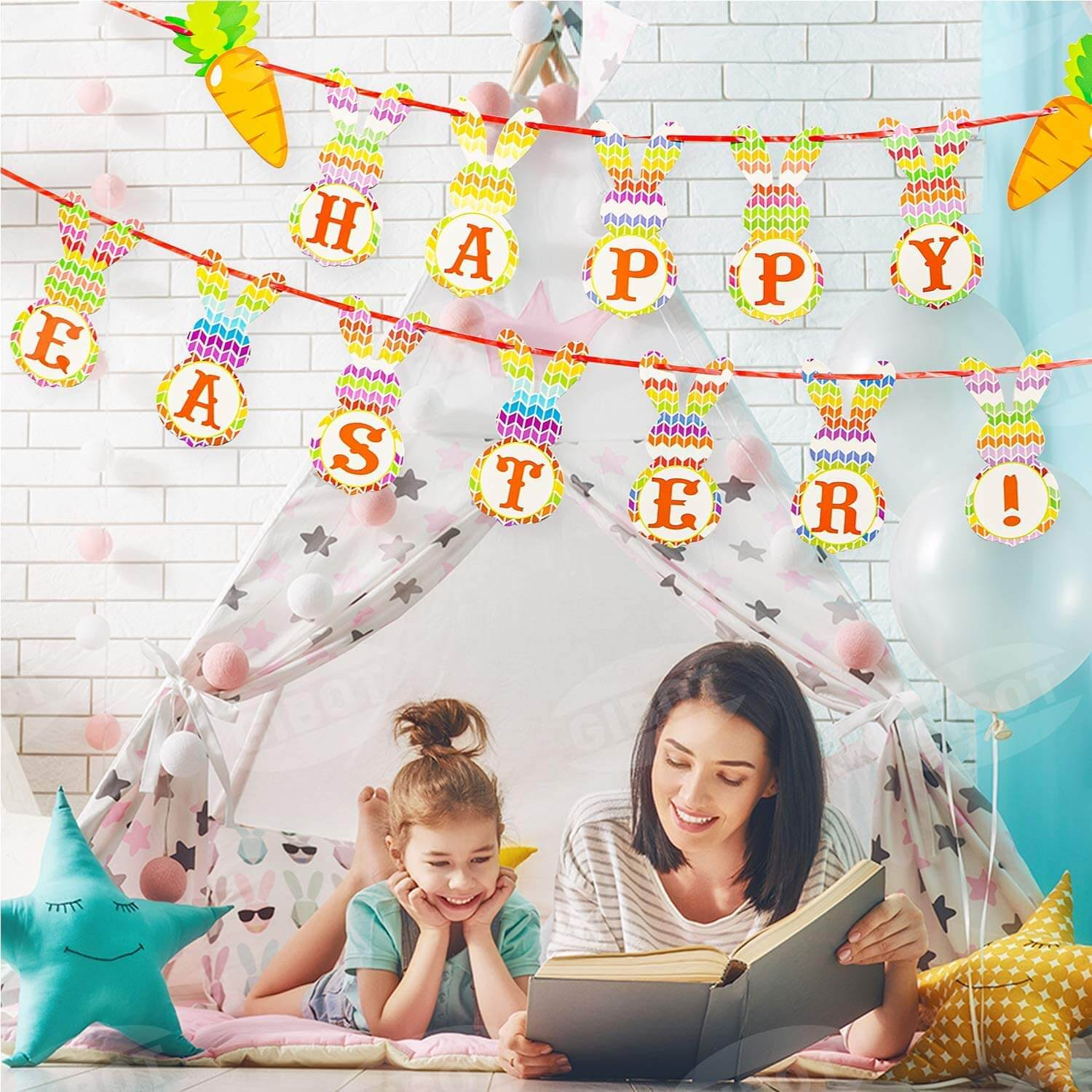 Happy Easter Banners Colorful Bunny Pattern Bunting Garland Easter Decorations Home Party Decor Favors