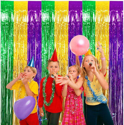 Mardi Gras Foil Fringe Curtains DIY Party Tinsel Photo Background Backdrop