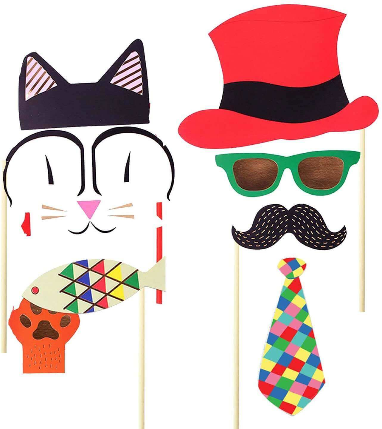 Birthday Party Masks Photo Booth Props Mustache