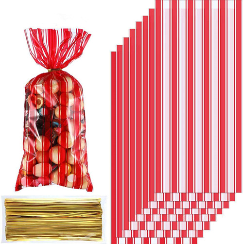 Plastic Circus Carnival Party Treat Bags Red and White Stripe