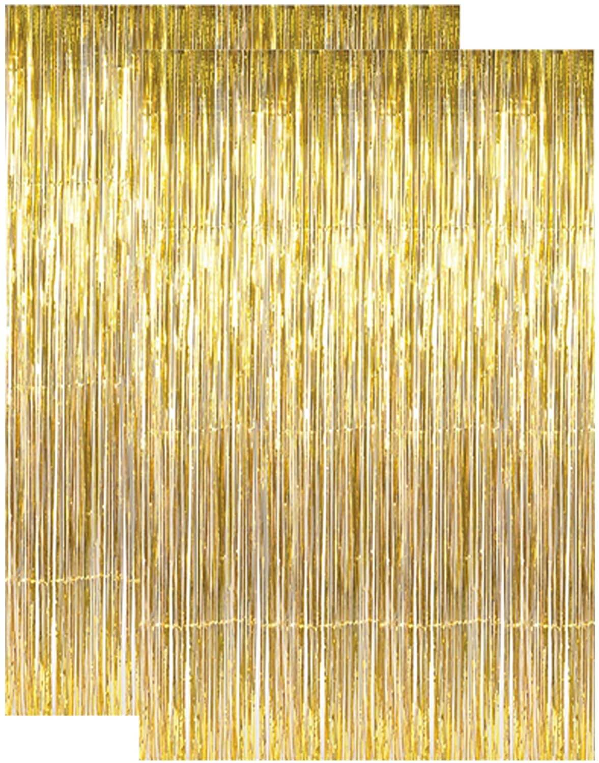 Gold Metallic Tinsel Foil Fringe Curtains