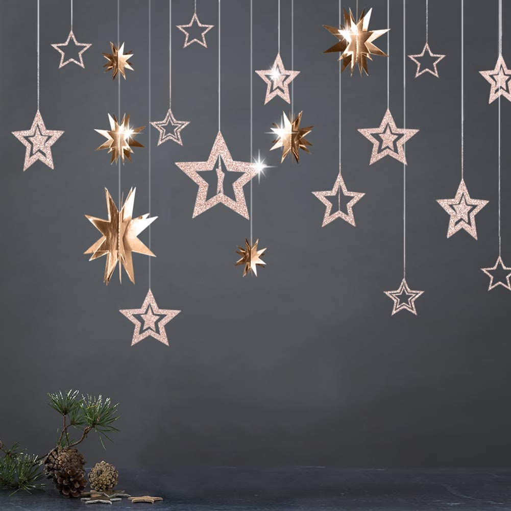 3D Champagne Gold Star Garland
