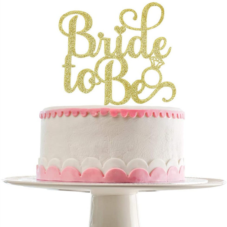 Gold Glittery Bride To Be Cake Topper